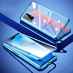 Luxury Aluminum Metal Frame Mirror Cover Case 360 Degrees M01 for Vivo V20 Pro 5G Blue