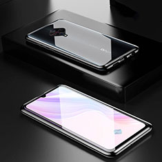 Luxury Aluminum Metal Frame Mirror Cover Case 360 Degrees M01 for Vivo X50 Lite Black