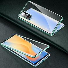Luxury Aluminum Metal Frame Mirror Cover Case 360 Degrees M01 for Vivo X50 Pro 5G Green