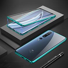 Luxury Aluminum Metal Frame Mirror Cover Case 360 Degrees M01 for Xiaomi Mi 10 Pro Green