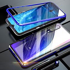Luxury Aluminum Metal Frame Mirror Cover Case 360 Degrees M01 for Xiaomi Mi 9 Blue