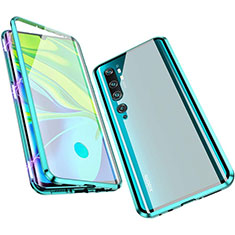 Luxury Aluminum Metal Frame Mirror Cover Case 360 Degrees M01 for Xiaomi Mi Note 10 Cyan