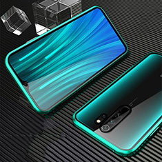 Luxury Aluminum Metal Frame Mirror Cover Case 360 Degrees M01 for Xiaomi Redmi Note 8 Pro Green