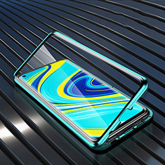 Luxury Aluminum Metal Frame Mirror Cover Case 360 Degrees M01 for Xiaomi Redmi Note 9 Green