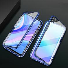 Luxury Aluminum Metal Frame Mirror Cover Case 360 Degrees M02 for Huawei Enjoy 10e Blue
