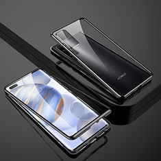 Luxury Aluminum Metal Frame Mirror Cover Case 360 Degrees M02 for Huawei Honor 30 Pro Black