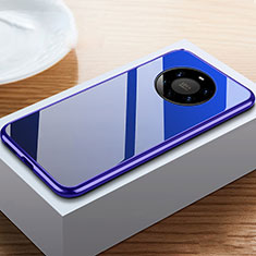 Luxury Aluminum Metal Frame Mirror Cover Case 360 Degrees M02 for Huawei Mate 40 Pro+ Plus Blue
