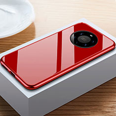 Luxury Aluminum Metal Frame Mirror Cover Case 360 Degrees M02 for Huawei Mate 40 Pro+ Plus Red