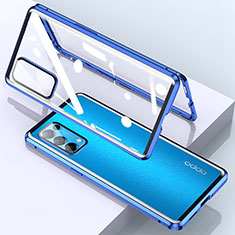 Luxury Aluminum Metal Frame Mirror Cover Case 360 Degrees M02 for Oppo Reno5 Pro 5G Blue