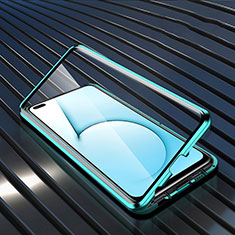 Luxury Aluminum Metal Frame Mirror Cover Case 360 Degrees M02 for Realme X3 SuperZoom Cyan
