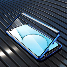 Luxury Aluminum Metal Frame Mirror Cover Case 360 Degrees M02 for Realme X50m 5G Blue