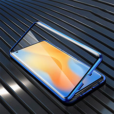 Luxury Aluminum Metal Frame Mirror Cover Case 360 Degrees M02 for Vivo X51 5G Blue