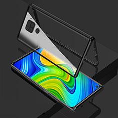 Luxury Aluminum Metal Frame Mirror Cover Case 360 Degrees M02 for Xiaomi Redmi Note 9 Black