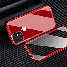Luxury Aluminum Metal Frame Mirror Cover Case 360 Degrees M03 for Apple iPhone 11 Pro Max Red