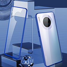 Luxury Aluminum Metal Frame Mirror Cover Case 360 Degrees M03 for Huawei Mate 30 Pro 5G Blue