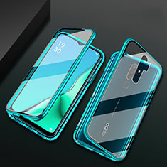Luxury Aluminum Metal Frame Mirror Cover Case 360 Degrees M03 for Oppo A5 (2020) Green