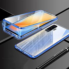 Luxury Aluminum Metal Frame Mirror Cover Case 360 Degrees M03 for Vivo X50 5G Blue