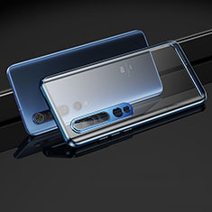 Luxury Aluminum Metal Frame Mirror Cover Case 360 Degrees M03 for Xiaomi Mi 10 Pro Blue