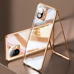 Luxury Aluminum Metal Frame Mirror Cover Case 360 Degrees M03 for Xiaomi Mi 11 5G Gold