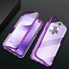 Luxury Aluminum Metal Frame Mirror Cover Case 360 Degrees M03 for Xiaomi Redmi K30 5G Purple
