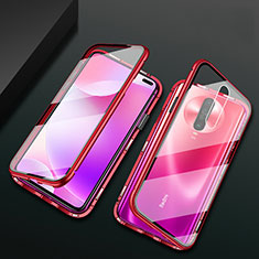 Luxury Aluminum Metal Frame Mirror Cover Case 360 Degrees M03 for Xiaomi Redmi K30 5G Red