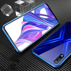 Luxury Aluminum Metal Frame Mirror Cover Case 360 Degrees M04 for Huawei Honor 9X Blue