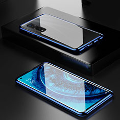 Luxury Aluminum Metal Frame Mirror Cover Case 360 Degrees M04 for Oppo Find X2 Pro Blue