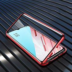 Luxury Aluminum Metal Frame Mirror Cover Case 360 Degrees M04 for Oppo K7 5G Red