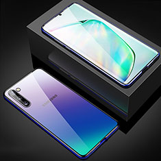 Luxury Aluminum Metal Frame Mirror Cover Case 360 Degrees M04 for Samsung Galaxy Note 10 5G Blue