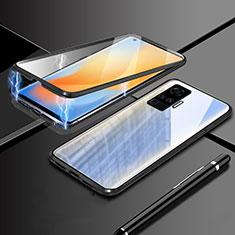Luxury Aluminum Metal Frame Mirror Cover Case 360 Degrees M04 for Vivo X51 5G Black