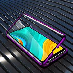 Luxury Aluminum Metal Frame Mirror Cover Case 360 Degrees M05 for Huawei Enjoy 10e Purple