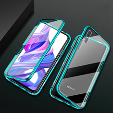 Luxury Aluminum Metal Frame Mirror Cover Case 360 Degrees M05 for Huawei Honor 9X Green