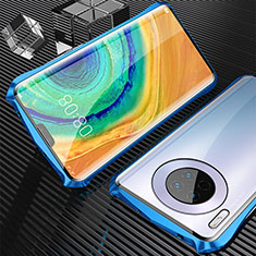 Luxury Aluminum Metal Frame Mirror Cover Case 360 Degrees M05 for Huawei Mate 30 Pro 5G Blue