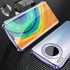 Luxury Aluminum Metal Frame Mirror Cover Case 360 Degrees M05 for Huawei Mate 30 Pro 5G Purple