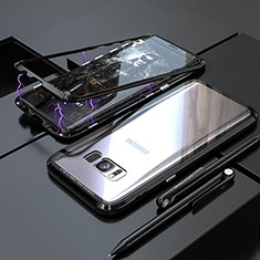 Luxury Aluminum Metal Frame Mirror Cover Case 360 Degrees M05 for Samsung Galaxy S8 Black