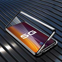 Luxury Aluminum Metal Frame Mirror Cover Case 360 Degrees M05 for Vivo X50 5G Black