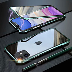 Luxury Aluminum Metal Frame Mirror Cover Case 360 Degrees M06 for Apple iPhone 11 Green