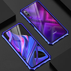 Luxury Aluminum Metal Frame Mirror Cover Case 360 Degrees M06 for Huawei Honor 9X Pro Blue