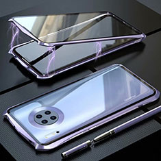 Luxury Aluminum Metal Frame Mirror Cover Case 360 Degrees M06 for Huawei Mate 30 Pro 5G Purple