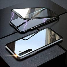 Luxury Aluminum Metal Frame Mirror Cover Case 360 Degrees M06 for Realme X2 Black