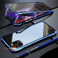 Luxury Aluminum Metal Frame Mirror Cover Case 360 Degrees M07 for Apple iPhone 11 Pro Blue