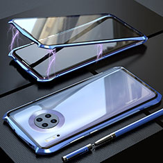 Luxury Aluminum Metal Frame Mirror Cover Case 360 Degrees M08 for Huawei Mate 30 Pro 5G Blue