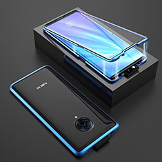 Luxury Aluminum Metal Frame Mirror Cover Case 360 Degrees M08 for Vivo Nex 3 Blue