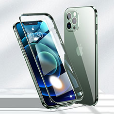 Luxury Aluminum Metal Frame Mirror Cover Case 360 Degrees N01 for Apple iPhone 12 Pro Max Green