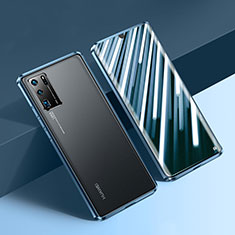 Luxury Aluminum Metal Frame Mirror Cover Case 360 Degrees N01 for Huawei P30 Pro New Edition Blue