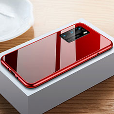 Luxury Aluminum Metal Frame Mirror Cover Case 360 Degrees N01 for Huawei P40 Red and Black