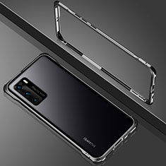 Luxury Aluminum Metal Frame Mirror Cover Case 360 Degrees N02 for Huawei P40 Black
