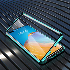 Luxury Aluminum Metal Frame Mirror Cover Case 360 Degrees N04 for Huawei P40 Green