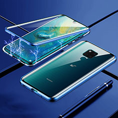 Luxury Aluminum Metal Frame Mirror Cover Case 360 Degrees T01 for Huawei Mate 20 X 5G Blue