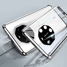 Luxury Aluminum Metal Frame Mirror Cover Case 360 Degrees T01 for Huawei Mate 40 RS White